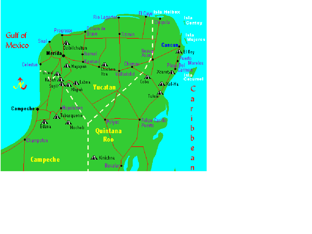 MAP OF MAYAN SITES